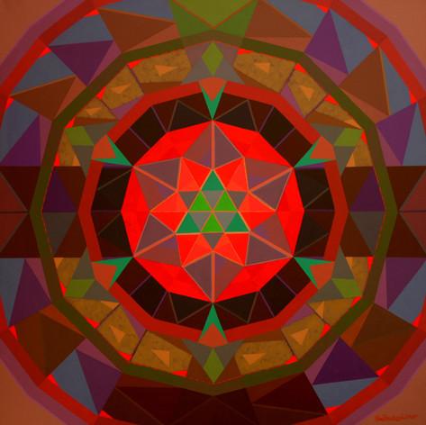 """Om Prakash Sharma: Swar Mandala (2009) 70"""" x 70""""  acrylic on canvas"""