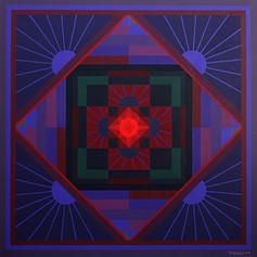 "Om Prakash Sharma: Mandala Kalingra (2015) 60"" x 60"" acrylic on canvas"