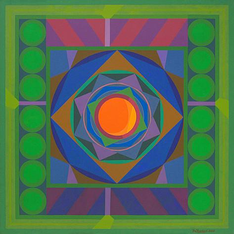 "Om Prakash Sharma: Counterpoint Mandala (2012) 60"" x 60"" acrylic on canvas"