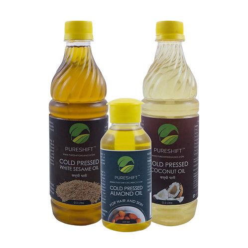 Winter Combo - Cold Pressed Coconut, White Sesame and Almond Oil