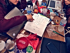 Organizing Stitchfest, the wearables subhackathon, during PennApps, one of the largest collegiate hackathons in the United States (2014)