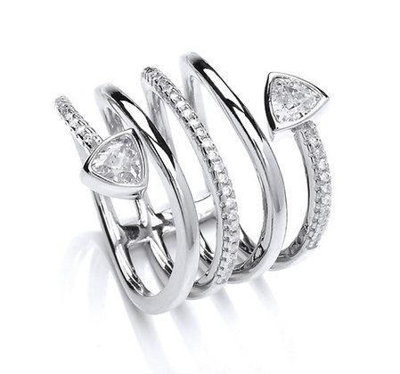 Silver cubic zirconia spiral ring