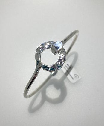 Silver hammered circle bangle