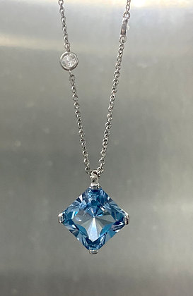 Silver blue cz pendant