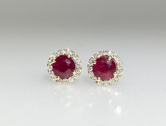 9ct ruby and diamond earrings