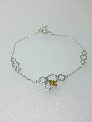 Silver honeycomb bracelet
