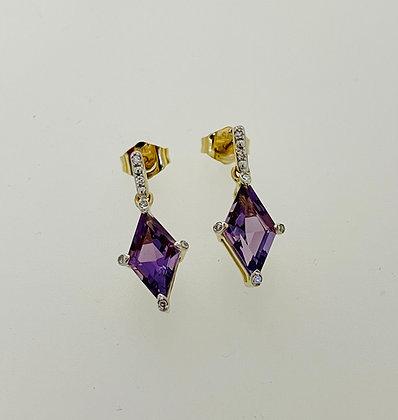9ct yellow amethyst earrings