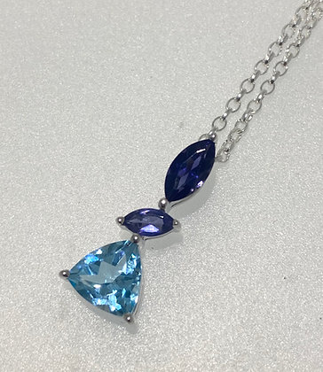 Silver topaz/iolite pendant