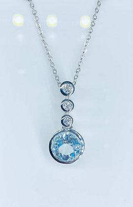 9ct white gold aquamarine pendant