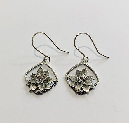 Silver poinsettia earrings