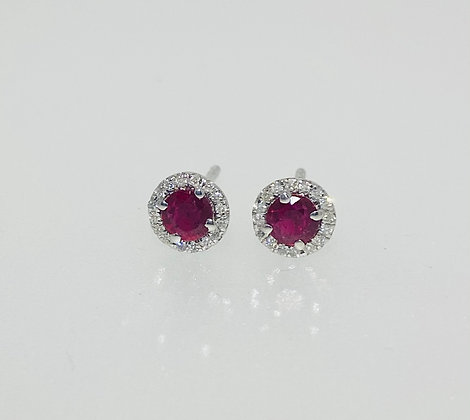 9ct white gold ruby studs