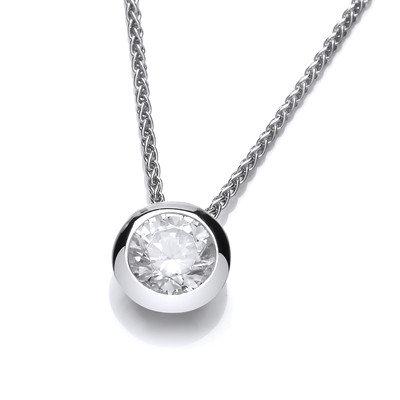Silver solitaire cubic zirconia pendant