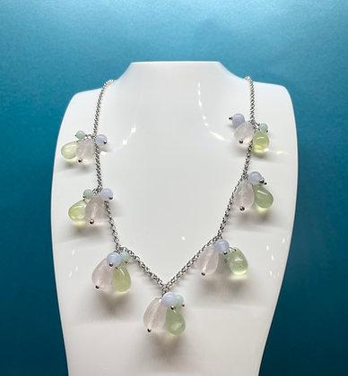 Silver multi-stone necklace