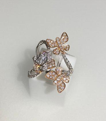 18ct rose/white gold diamond ring