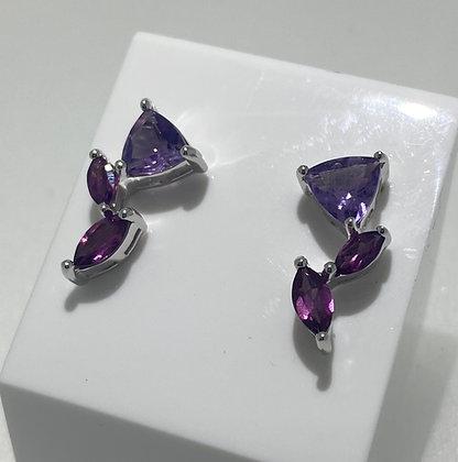 Silver amethyst/garnet earrings