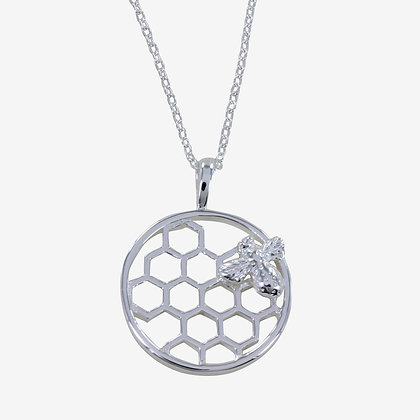 Bee on honeycomb pendant