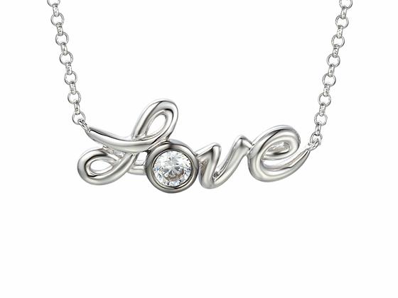 Silver 'Love' necklet
