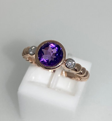 9ct rose gold amethyst and diamond ring