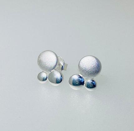 Silver bubble stud earrings