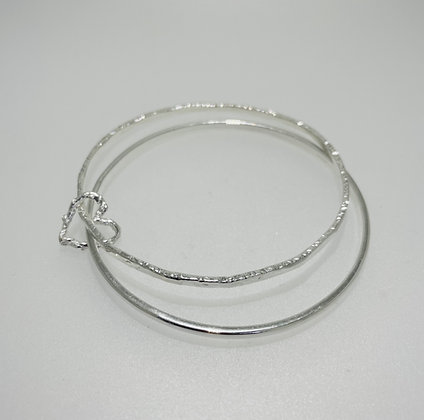 Silver double bangle with heart