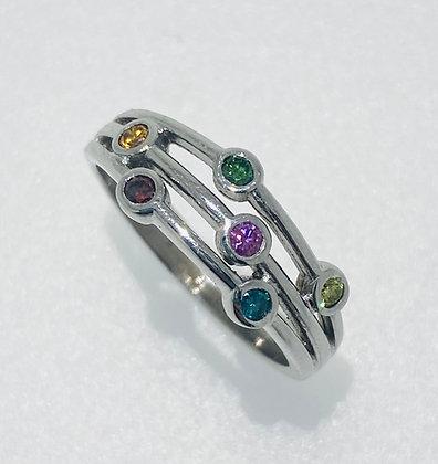 18ct white gold rainbow diamond ring