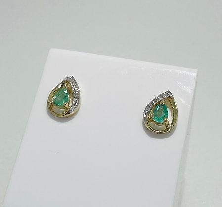 9ct yellow gold emerald and diamond earrings