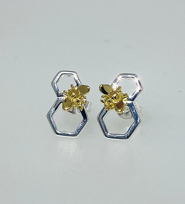 Silver honeycomb earrings
