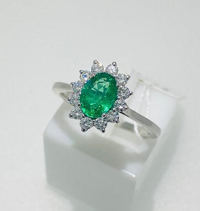 Platinum emerald/diamond ring