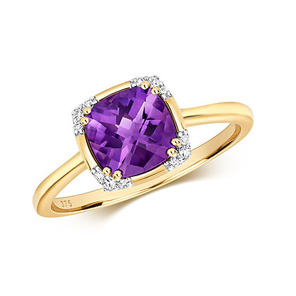 9ct yellow gold amethyst ring