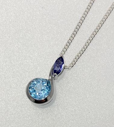 Silver iolite and topaz pendant