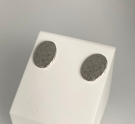 Silver oval stud earrings (different textures)