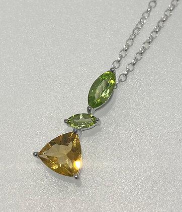 Silver citrine/peridot pendant