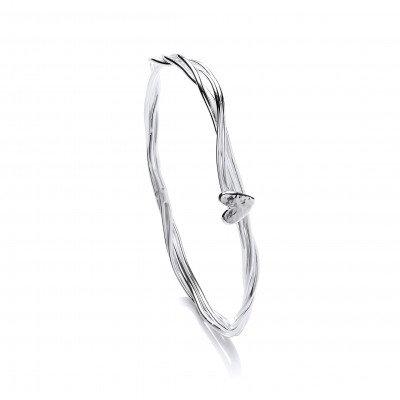 Twisted strand bangle with heart