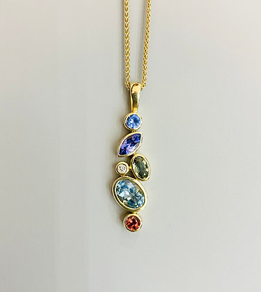9ct yellow gold multi stone pendant