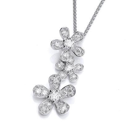 Silver cz daisy pendant