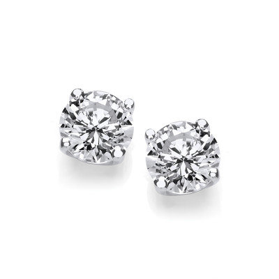 Silver cubic zirconia studs
