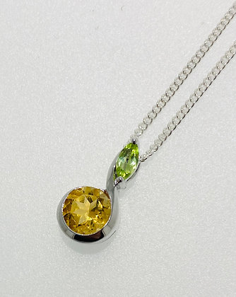 Silver peridot and citrine pendant