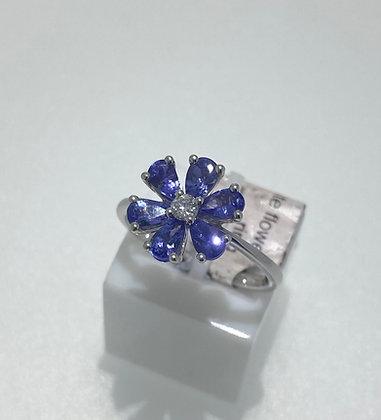 9ct white gold, tanzanite and diamond ring