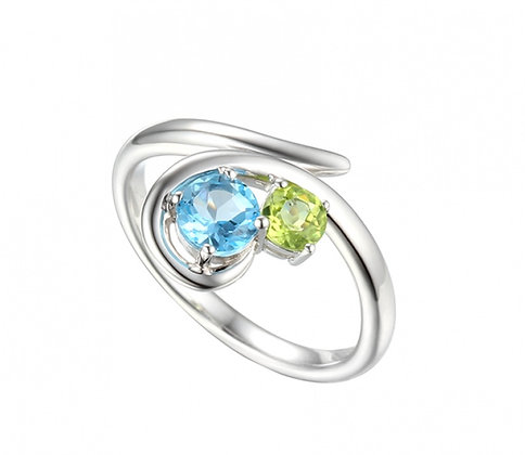 Silver peridot and topaz ring