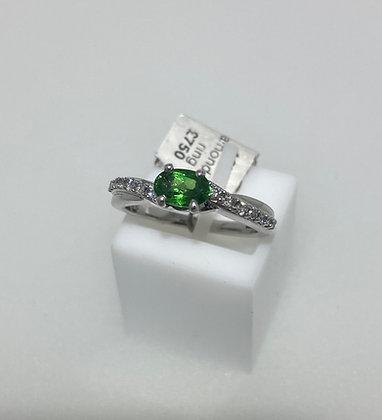18ct white gold garnet diamond ring