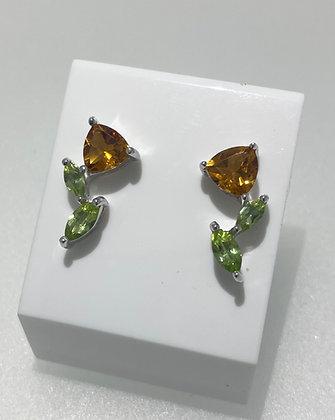 Silver citrine/peridot earrings