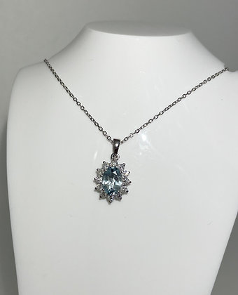 18ct aquamarine/diamond pendant
