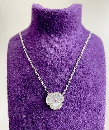 9ct white gold mother of pearl necklace