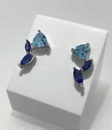 Silver topaz/iolite earrings