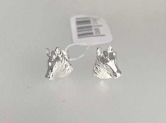 Silver horse stud earrings