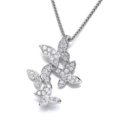 Silver cz butterfly pendant