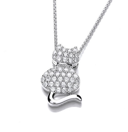 Silver cz cat pendant