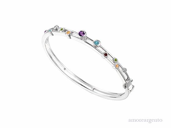 Sterling silver gemstone bangle