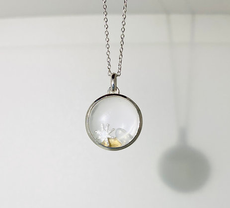 Silver glass 'Christmas' locket