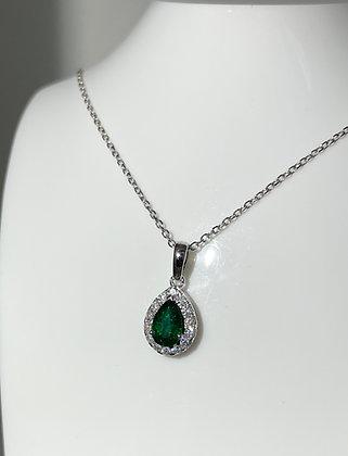 18ct emerald/diamond pendant